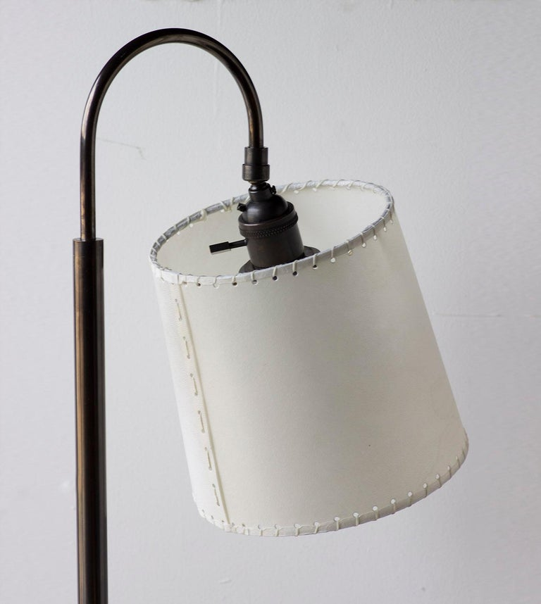 Bauhaus Series01 Floor Lamp, Putty Leather, Dark Patinated Brass, Goatskin Shade For Sale