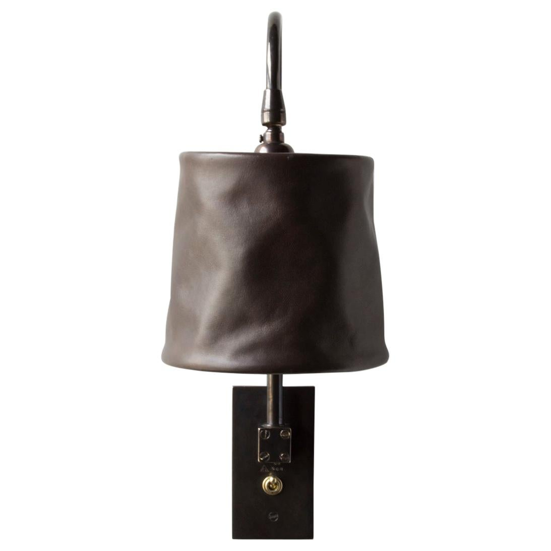 Series01 Large Sconce, Dark Patinated Brass, Sable Brown Leather Pivoting Shade