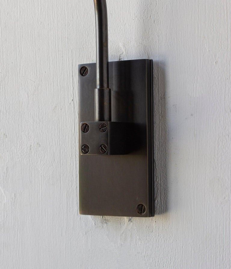 Bauhaus Series01 Small Sconce, Dark Patinated Brass, Sable Brown Leather Shade, Pivoting For Sale