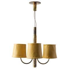 Series01 Upright Electrolier, Smoke Patinated Brass, Mustard Leather Shades