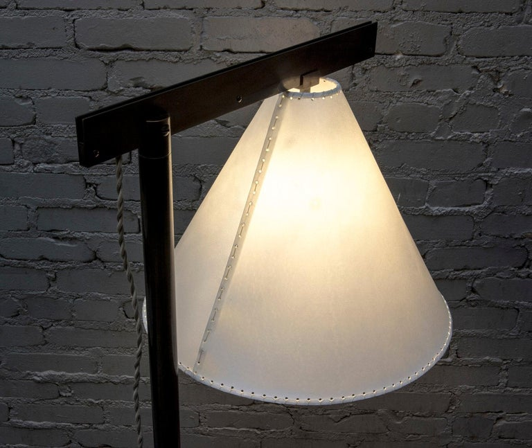 Blackened Series02 Floor Lamp, Dark Patinated Brass, Goatskin Parchment Shade For Sale
