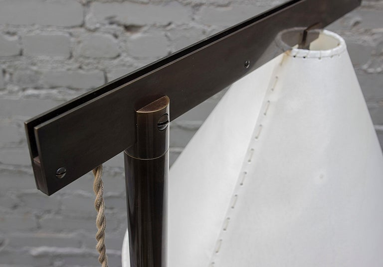 Series02 Floor Lamp, Dark Patinated Brass, Goatskin Parchment Shade In New Condition For Sale In Brooklyn, NY