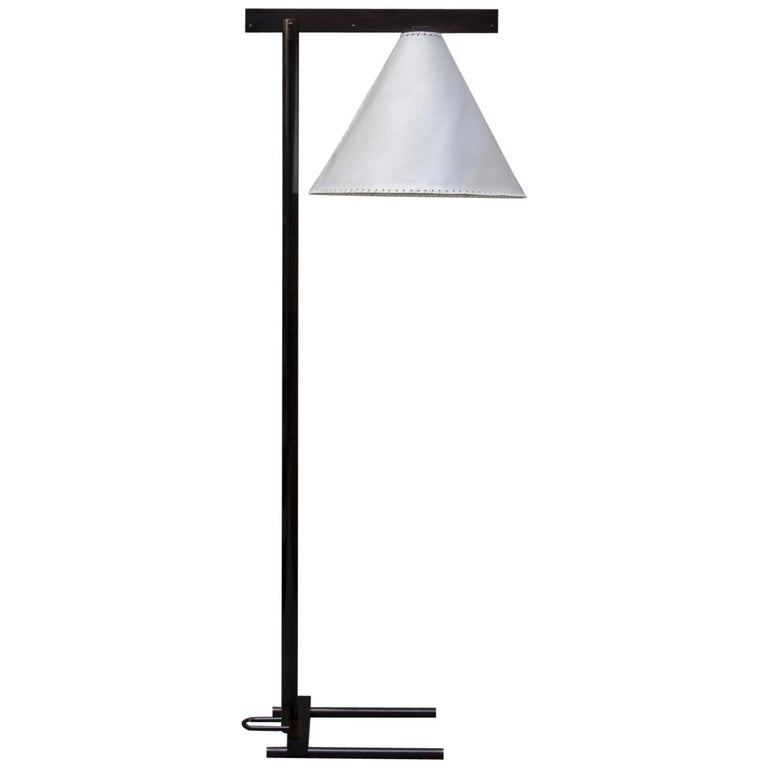 Series02 Floor Lamp, Dark Patinated Brass, Goatskin Parchment Shade For Sale