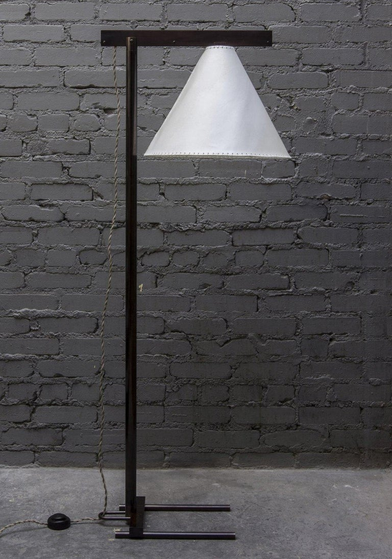 Series02 Floor Lamp, Polished Unlacquered Brass, Goatskin Parchment Shade For Sale 5