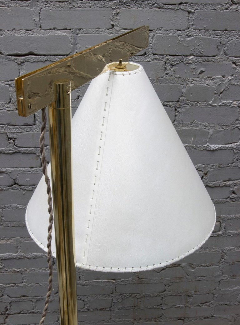 Contemporary Series02 Floor Lamp, Polished Unlacquered Brass, Goatskin Parchment Shade For Sale