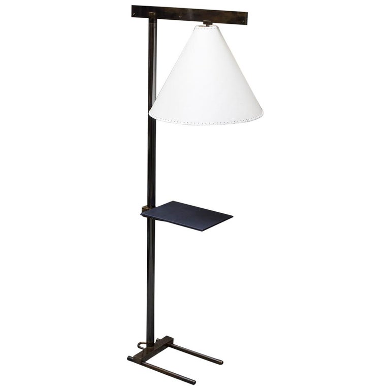 Series02 Floor Lamp, Smoke Patinated Brass, Goatskin Shade, Leather Wrapped Tray For Sale