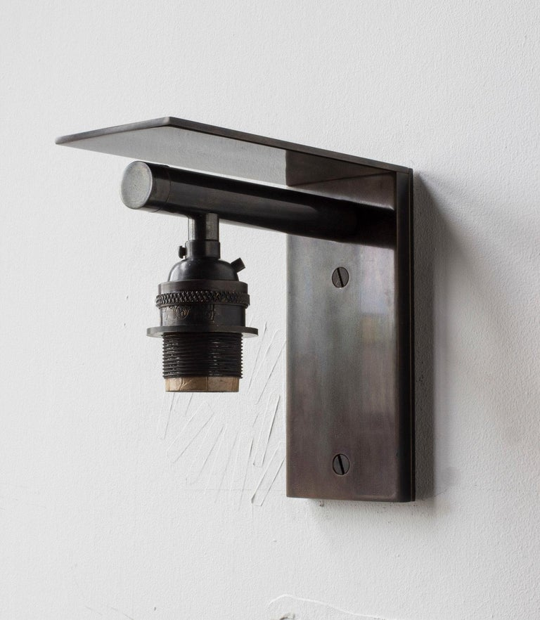 Bauhaus Series02 Large Sconce, Dark Patinated Brass, Stitched Goatskin Parchment Shade For Sale