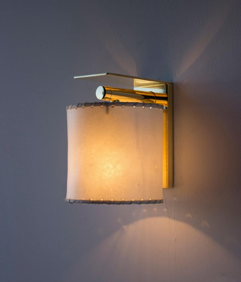 Blackened Series02 Large Sconce, Dark Patinated Brass, Stitched Goatskin Parchment Shade For Sale