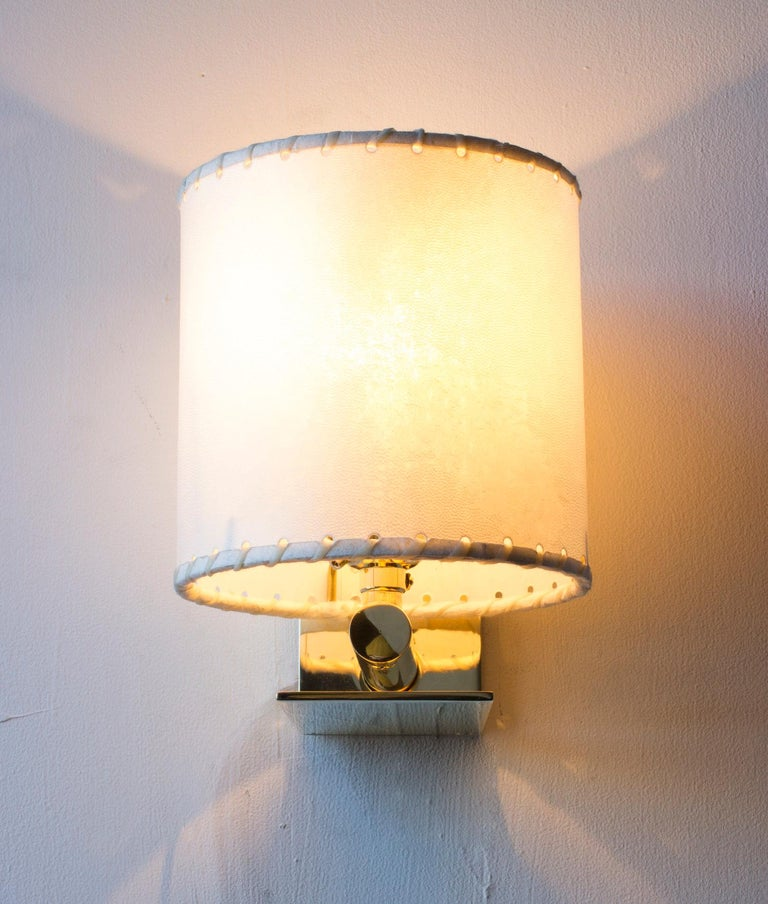 Contemporary Series02 Large Sconce, Dark Patinated Brass, Stitched Goatskin Parchment Shade For Sale