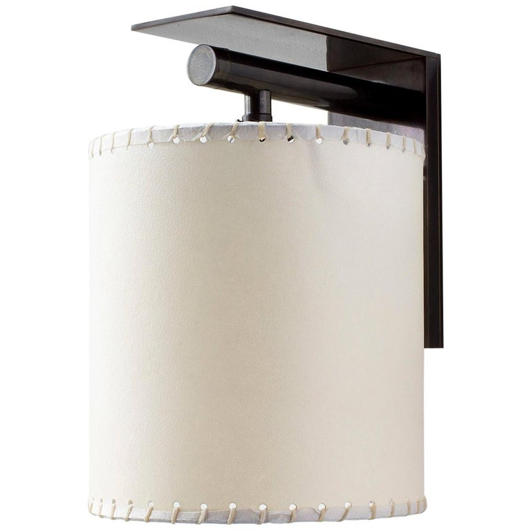 Series02 Large Sconce, Dark Patinated Brass, Stitched Goatskin Parchment Shade For Sale