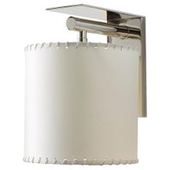 Series02 Lg. Sconce, Polished Nickel Brass, Stitched Goatskin Parchment Shade