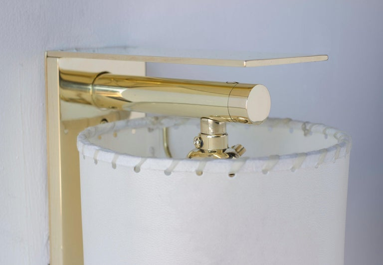 American Series02 Small Sconce, Polished Unlacquered Brass, Goatskin Parchment Shade For Sale