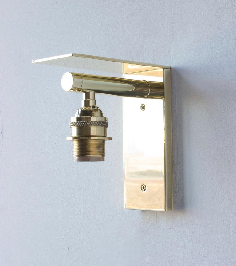 Series02 Small Sconce, Polished Unlacquered Brass, Goatskin Parchment Shade In New Condition For Sale In Brooklyn, NY
