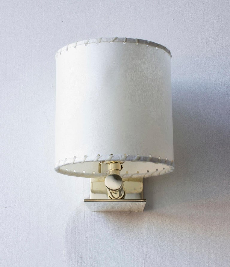 Contemporary Series02 Small Sconce, Polished Unlacquered Brass, Goatskin Parchment Shade For Sale