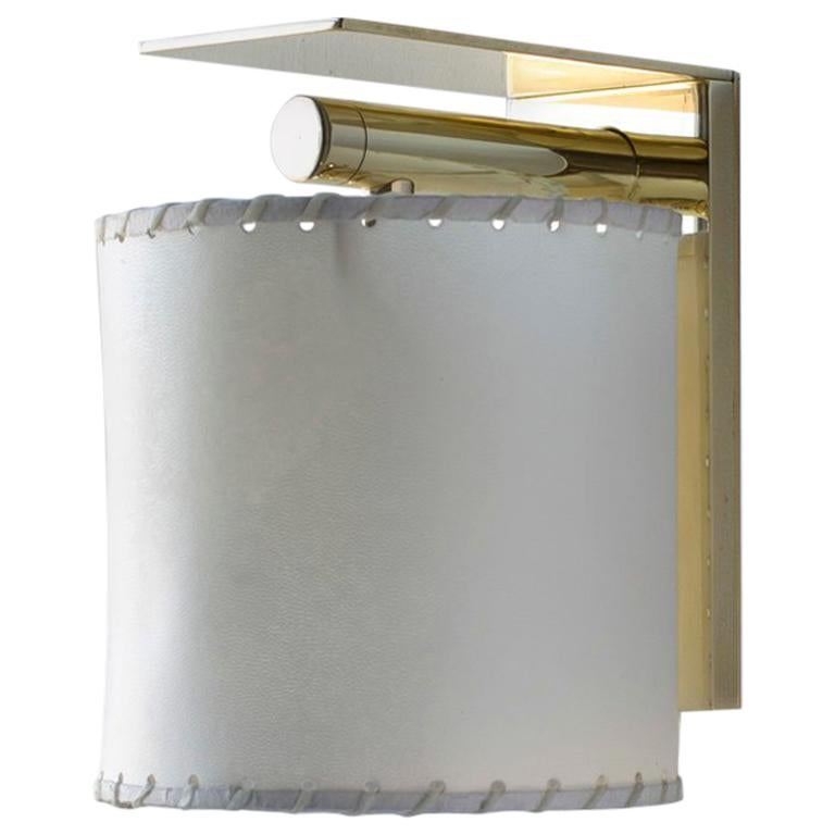 Series02 Small Sconce, Polished Unlacquered Brass, Goatskin Parchment Shade For Sale