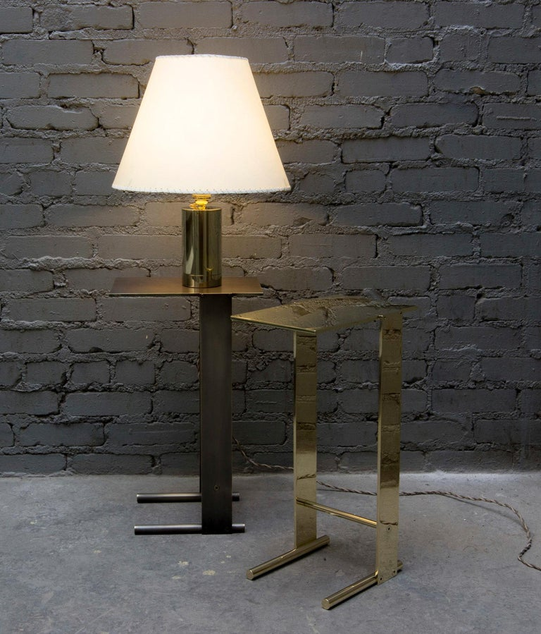 American Series02 Table Lamp, Dark Patinated Brass, Stitched Goatskin Parchment Shade For Sale