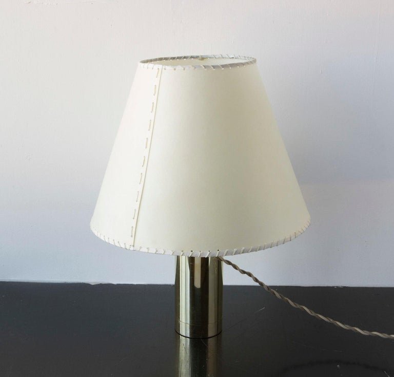 Bauhaus Series02 Table Lamp, Polished Unlacquered Brass, Goatskin Parchment Shade For Sale