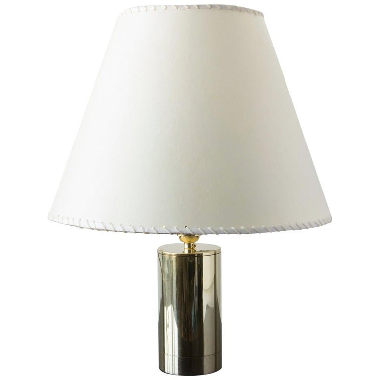 Series02 Table Lamp, Polished Unlacquered Brass, Goatskin Parchment Shade For Sale