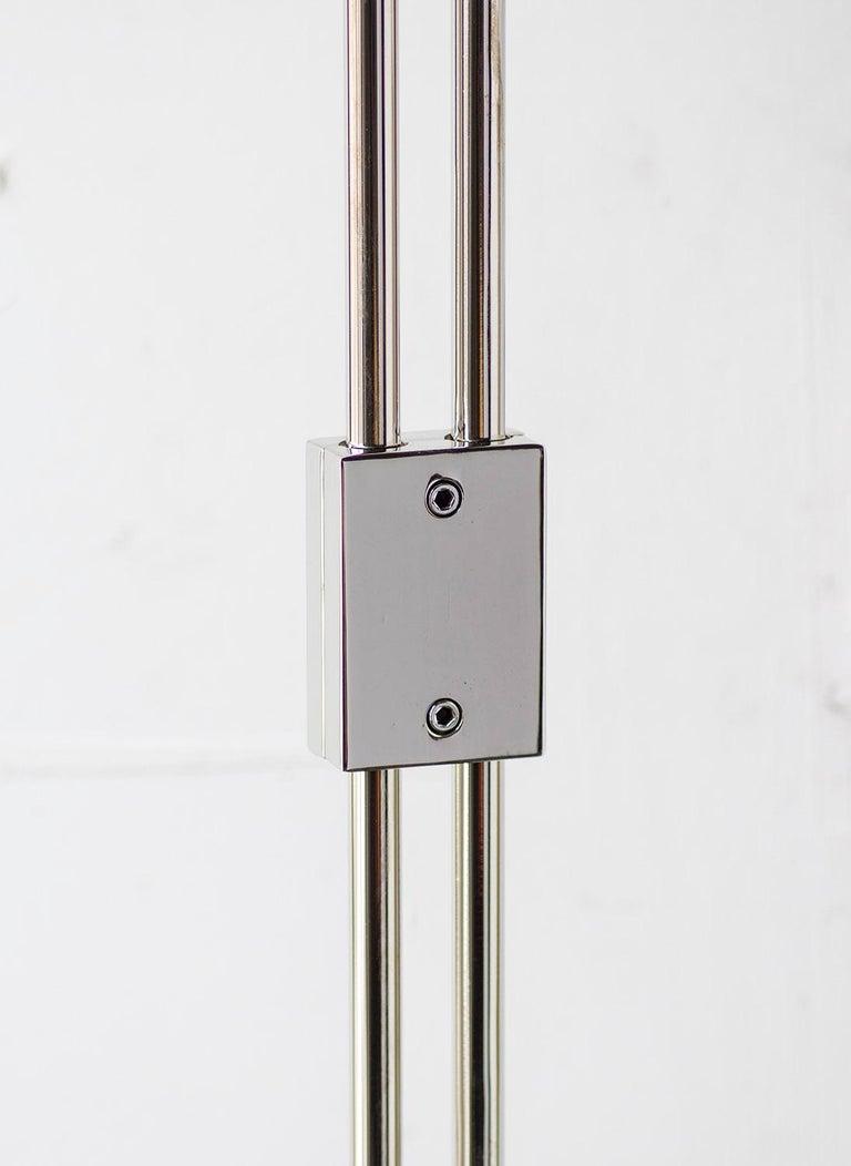Bauhaus Series04 Floor Lamp Nickel-Plated Brass Adjustable Goatskin Shade Suede trim For Sale