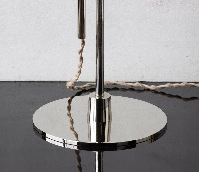 American Series04 Floor Lamp Nickel-Plated Brass Adjustable Goatskin Shade Suede trim For Sale