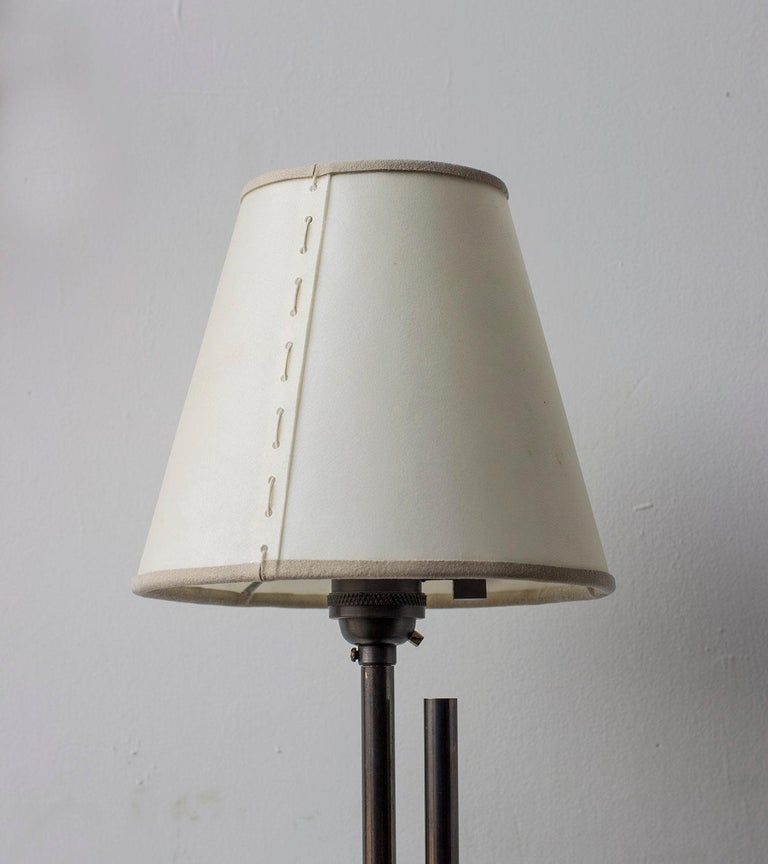 Series04 Floor Lamp Patinated Brass Adjustable Height, Goatskin Shade Suede Trim In New Condition For Sale In Brooklyn, NY