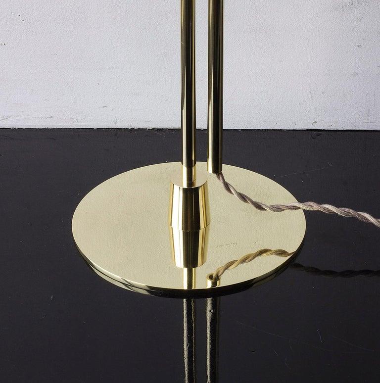 Bauhaus Series04 Floor Lamp Polished Brass Adjustable Height, Goatskin Shade Suede Trim For Sale