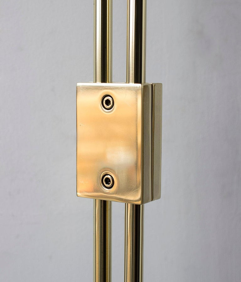 American Series04 Floor Lamp Polished Brass Adjustable Height, Goatskin Shade Suede Trim For Sale