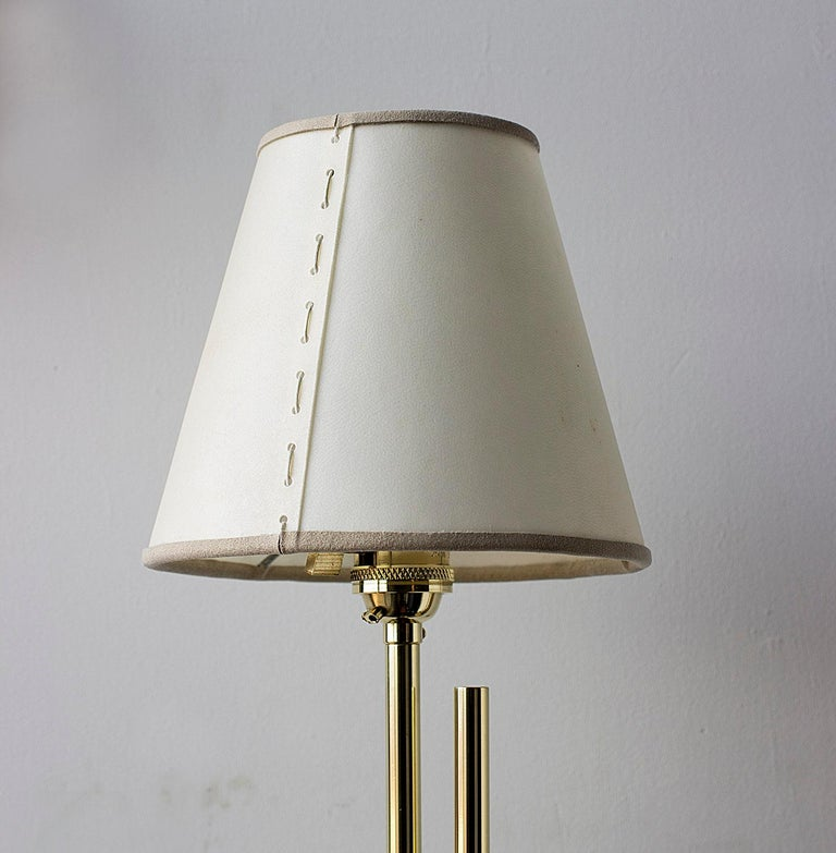 Series04 Floor Lamp Polished Brass Adjustable Height, Goatskin Shade Suede Trim In New Condition For Sale In Brooklyn, NY