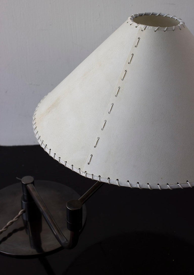 American Series04 Pivot-Arm Desk Lamp, Dark Patinated Brass, Goatskin Parchment Shade For Sale