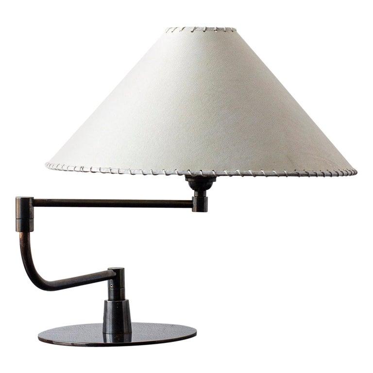 Series04 Pivot-Arm Desk Lamp, Dark Patinated Brass, Goatskin Parchment Shade For Sale