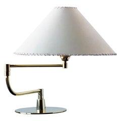 SERIES04 Pivot-Arm Desk Lamp, Polish Unlacquered Brass, Goatskin Parchment Shade
