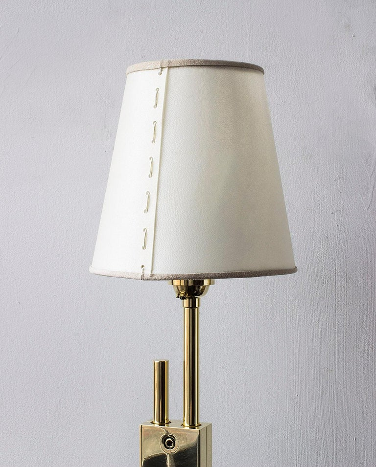 Bauhaus Series04 Table Lamp Polished Brass Adjustable Height, Goatskin Shade Suede Trim For Sale