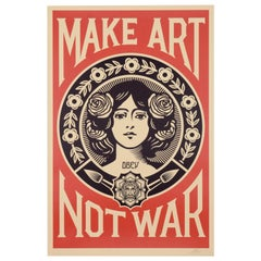 """Serigraphy """"Make ART not War"""" Shepard Fairey 'born in 1970' Signed with Pencil"""