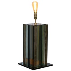 Seriously Cool 1970s Panelled Coloured Distressed Glass Table Lamp Retro Find