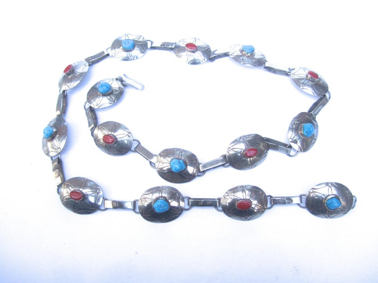 Serling Silver Handmade Turquoise & Coral Artisan Link Belt Circa 1970s For Sale 8