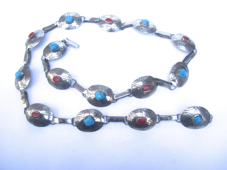 Serling Silver Handmade Turquoise & Coral Artisan Link Belt Circa 1970s For Sale 9