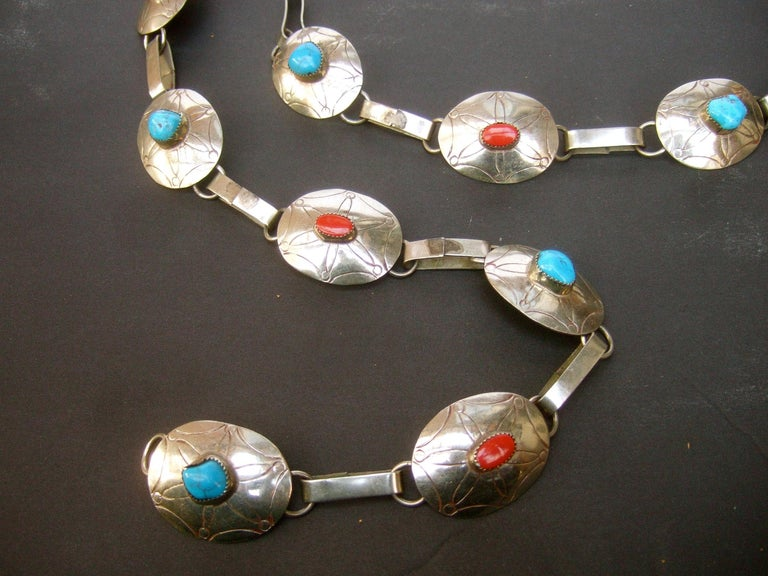 Serling Silver Handmade Turquoise & Coral Artisan Link Belt Circa 1970s For Sale 10
