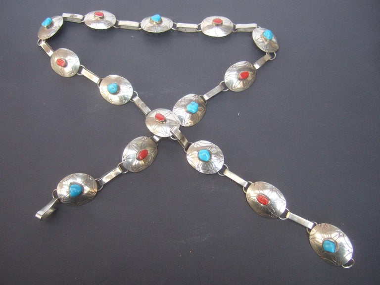 Serling Silver Handmade Turquoise & Coral Artisan Link Belt Circa 1970s For Sale 12