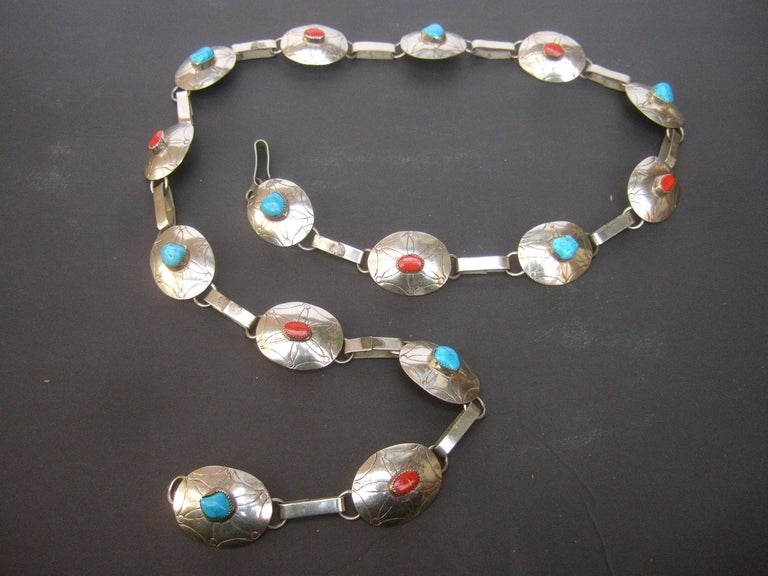 Sterling silver handmade artisan turquoise & coral stone link belt c 1970s The unique artisan belt is comprised of 15 sterling silver oval-shaped links with subtle impressed designs   Each of the sterling silver buckles is adorned with alternating