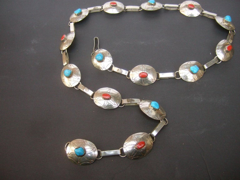 Serling Silver Handmade Turquoise & Coral Artisan Link Belt Circa 1970s In Good Condition For Sale In Santa Barbara, CA
