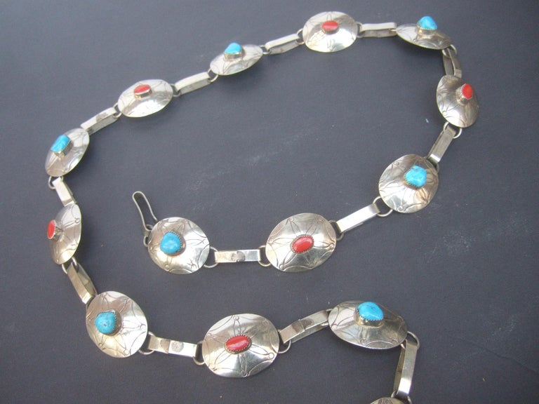 Women's Serling Silver Handmade Turquoise & Coral Artisan Link Belt Circa 1970s For Sale