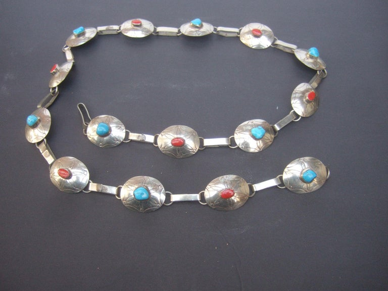 Serling Silver Handmade Turquoise & Coral Artisan Link Belt Circa 1970s For Sale 5