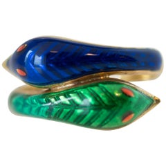 Serpent Gold Ring Featuring 18 Karat Yellow Gold and Enamel