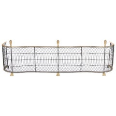 Serpentine Brass and Metal Wire Fireplace Fender