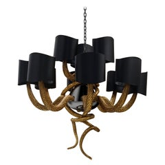 Serpentine Chandelier in Black Nickel With High Gloss Finish
