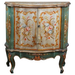 Serpentine Demilune Italian Florentine Side Cabinet or Entry Console Table