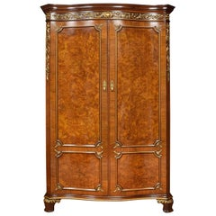 Serpentine Fronted Maple and Co. Walnut Wardrobe