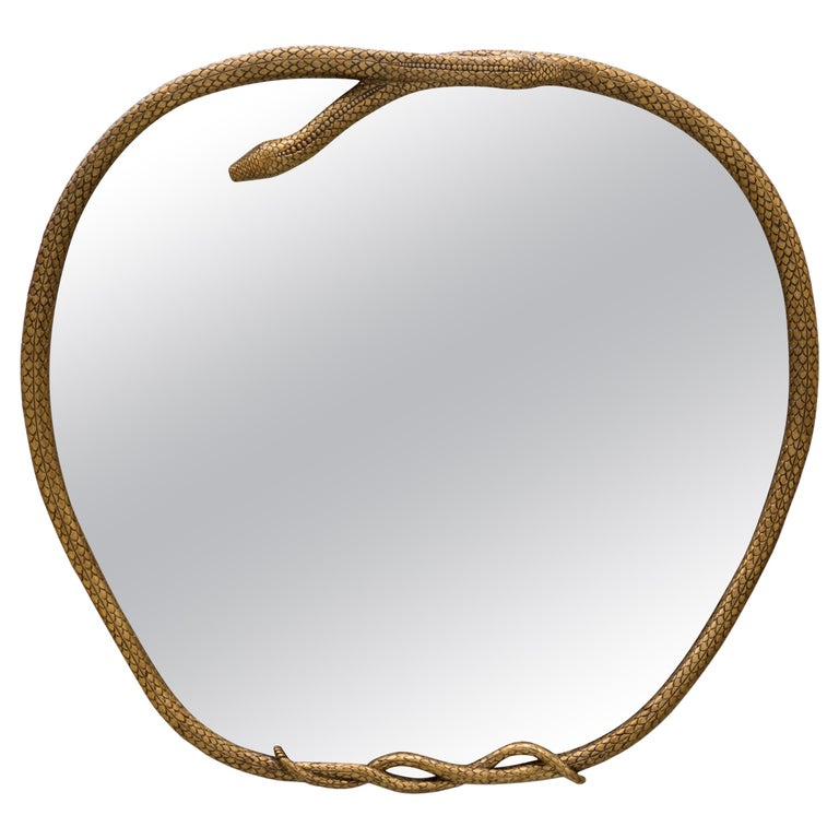 Serpentine II Mirror in Broken Gold Leaf With High Gloss Finish For Sale