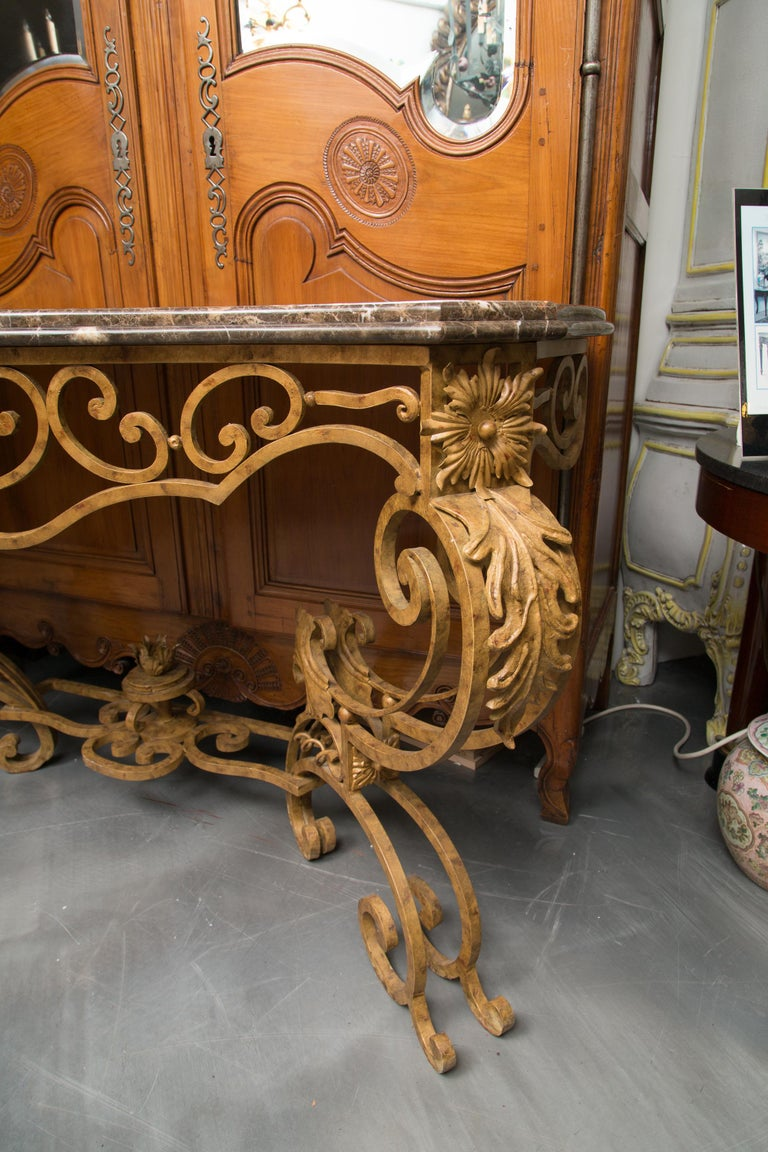 Serpentine Iron Console with Marble Top For Sale 3