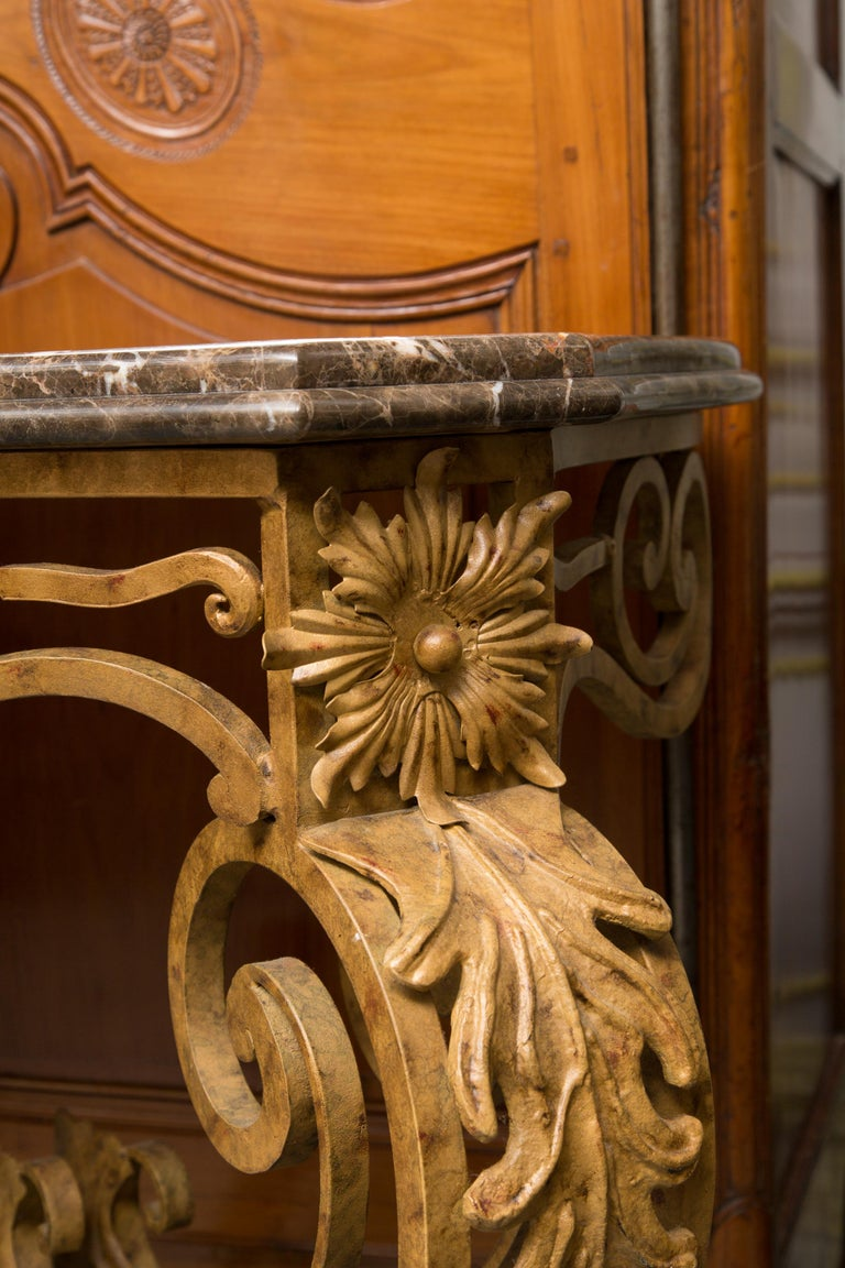 Serpentine Iron Console with Marble Top For Sale 4